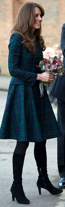Who made Kate Middleton's black suede boots and green plaid coat that she wore on November 20, 2012? pin and see.