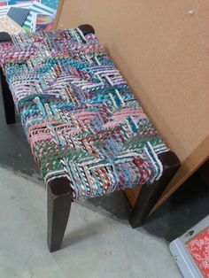 Fabric woven bench with wood legs