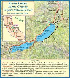 Map of Twin Lakes, Mono County, CA