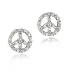 Sterling Silver CZ Circle Peace Sign Earrings SilverSpeck.com. $19.99. Measures 12mm W, 12mm H