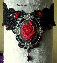 Gothic Red Rose Lace Choker
