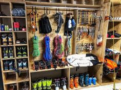 Gear closet of Malcolm Wood gearstoke weighmyrack Garage Organization, Garage Storage, Basement Storage, Sports Storage, Gun Rooms, Diy Garage, Clean Garage, Garage Ideas, Camping Equipment