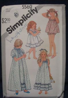 Girl Size 6 Nightgown in Two Lengths Robe Baby Doll by kinseysue