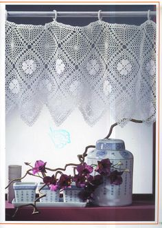 Crochet Knitting Handicraft: Curtains with charts. Lots of beautiful curtains in different language. Crochet Curtain Pattern, Crochet Motif Patterns, Crochet Curtains, Curtain Patterns, Lace Curtains, Crochet Doilies, Crochet Home Decor, Crochet Crafts, Kitchen Curtains And Valances