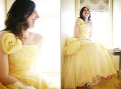 Yellow Bridal Ball Gown,Floral Wedding Dress,Handmade Prom Dress,70310