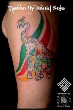 Indian Elephant Tattoo   Custom Rasta East Indian Elephant Tattoo By Enoki by enokisoju