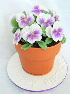 Pansy Flowerpot cake