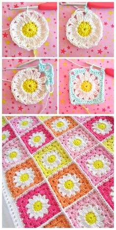 You will find this collection of Crochet Daisy Granny Square Pattern Ide . : You will find this collection of Crochet Daisy Granny Square Pattern Ide … # Mandala Au Crochet, Crochet Flower Squares, Crochet Daisy, Crochet Flowers, Daisy Flowers, Crochet Food, Cute Crochet, Motifs Afghans, Square Patterns