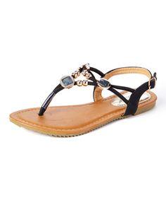 $9.99 Spring/Summer isn't to far away.  Black Beaded T-Strap Sandal