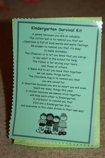 Kindergarten Survival Kit (for students)  Must do!!
