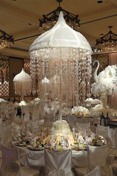 Preston Bailey All White Reception with floral Birds!