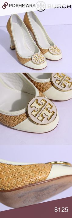 "Tory Burch Reva Maddie Straw Cream Heels Pumps Tory Burch Reva Maddie Straw Cream Heels Pumps, size 7  Patent Leather woven straw pattern  with a block heel.  Heel height: 3.75""  Has a small mark near the toe on the inside of the left shoe, and some wear on the bottoms, see pictures. Otherwise in really good condition!  Price is firm. Tory Burch Shoes Heels"