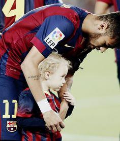Neymar Da Silva Santos Júnior with son, Davi Luca