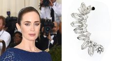 Met Gala jewelry: Actress Emily Blunt donned a number of Forevermark pieces, including the modern, stylish Forevermark by H.J. Namdar diamond ear cuff in white gold pictured here.