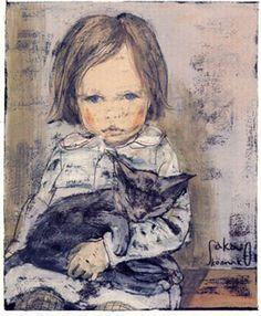 Blue - little girl - cat - Komako Sakai - , Brighton Peach: Illustration