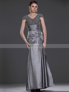 Cap Sleeved V Neck Lace Bodice with Draped Long Taffeta Mother of the Bride Dress