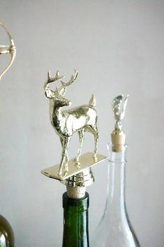 Gold Deer - Vintage Trophy Cork Wine Bottle Stopper
