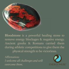 Bloodstone is a powerful healing stone to remove energy blockages and negative energy. The ancient greeks and Romans often carried these crystals during athletic competitions to bring them the physical strength to be victorious. #bloodstone #crystal #healing #energymuse