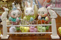Do you just love the Easter Fence with rabbit on the posts fencing in the gaggle of chicks and dressed up Debra Schoch bunnies!
