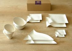 Wasara's series of tableware, is made from non-wood materials: reed pulp and sugarcane waste called bagasse. Basically, it's paper.