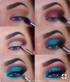 The Ultimate Full-Face Drugstore Makeup Guide For Beauty Addicts - Schminke - Eye Make up Makeup Eye Looks, Eye Makeup Steps, Natural Eye Makeup, Blue Eye Makeup, Turquoise Eye Makeup, Makeup With Glitter, Metallic Eye Makeup, Sparkle Makeup, Sleek Makeup
