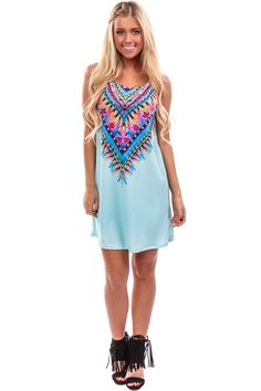 Lime Lush Boutique - Light Blue Brightly Printed Tank Dress, $36.99 (http://www.limelush.com/light-blue-brightly-printed-tank-dress/)