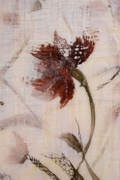 Original Encaustic Bees wax Painting  wild flower  love Swalla Studio 12 x 12 x 1.5. via Etsy.