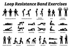 Loop resistance mini band exercises and stretch workout techniques in step by step Vector illustrations of stretching exercises poses postures and methods with loop resistance band Mini Band Exercises, Leg Workout With Bands, Mini Workouts, Leg Day Workouts, Gym Workout Videos, Best Leg Workout, Leg Workout At Home, Toning Workouts, Stretching Exercises