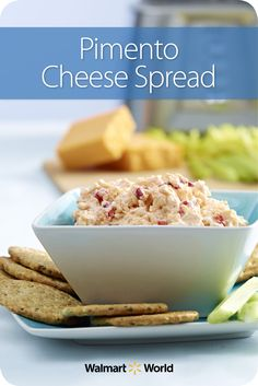 Kathy A., a cashier at Store 1019 in Canon City, Colo., says she likes to serve her Pimento Cheese Spread like a dip with a variety of crackers, toasted bread, and celery sticks. #recipe #appetizer