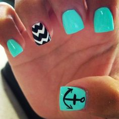 50 Cool Anchor Nail Art Designs : Green Nails with an Anchor Accented. - 50 Cool Anchor Nail Art Designs : Green Nails with an Anchor Accented. – 50 Cool An - Anchor Nail Designs, Anchor Nail Art, Cute Nail Designs, Art Designs, Nails With Anchor Design, Summer Nail Designs, Chevron Nail Designs, Beach Nail Designs, Design Ideas