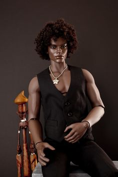 Ebony Dark, OOAK Male Fashion Doll.