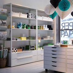 Image result for white metal shelving craft room
