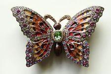 Stunning unique, large bejeweled butterfly enamel vintage trinket box - signed