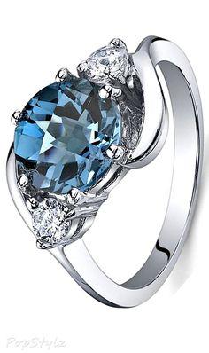 3 Stone London Blue Topaz Sterling Silver Ring