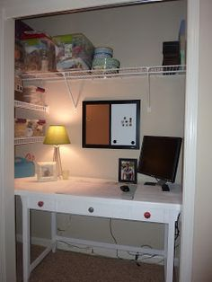 Closet Office – More than Rubies | | DIY Show Off ™ - DIY Decorating and Home Improvement BlogDIY Show Off ™ – DIY Decorating and Home Improvement Blog.. Idea for Zane's room