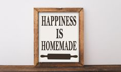 Happiness is Homemade, happiness is homemade sign, farmhouse wall decor, printable, farmhouse printables, wall art quotes, kitchen decor by TheHappyPioneer on Etsy