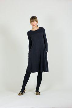 c48728c4b61 Items similar to Black Merino Wool Panelled Dress    Dresses With Pockets     Aline Dresses for Women    Sample Sale on Etsy