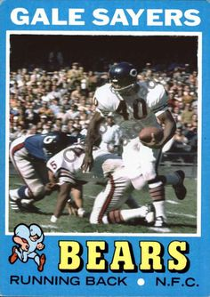41c5f9076 Custom made Topps 1971 Chicago Bears Gale Sayers football card white   ChicagoBears Football Love