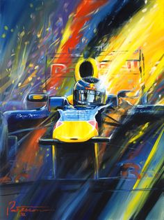 Bill Patterson Art - 2010/2011 F1 World Champion Sebastian Vettel, a 28″ X 22″ sheet with 3″ border, signed and numbered by the artist on 100% archival cotton rag - $100