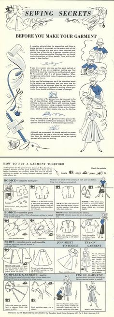 Sewing Techniques Couture Putting a garment together Vintage Tutorial Sewing Basics, Sewing Hacks, Sewing Tutorials, Sewing Crafts, Sewing Tips, Tutorial Sewing, Sewing Ideas, Techniques Couture, Sewing Techniques