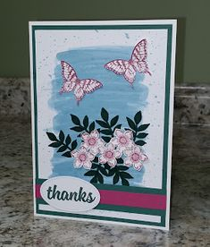 This Thank You card is another alternative using Flora & Flutter Paper Pumpkin Kit from December 2017 and inspired by a card I saw on Pin. Butterfly Flowers, Butterflies, Some Cards, Paper Pumpkin, Potpourri, Thank You Cards, Cardmaking, Stampin Up, Flora