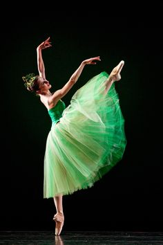 books0977: Allison DeBona in Emeralds by George Balanchine. DeBona joined Ballet West in 2007 and was promoted to Demi-Soloist in 2011. She trained at the Parou Ballet Company under Debbie Parou, followed by the Pittsburgh Youth Ballet under Jean Gedeon.