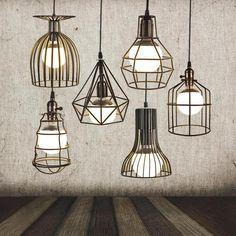 Vintage Iron Pendant Light Industrial Loft Droplight Bar Cafe Restaurant Cage Pendant Lamp American Country Style Hanging Light