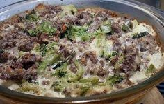 HAMBURGER-BROCCOLI ALFREDO CASSEROLE (atkins induction friendly)
