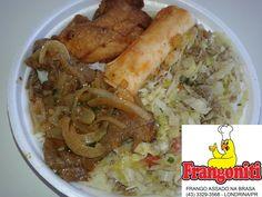 Serviremos hoje: Bife acebolado, frango frito (Tipo Karague), massa, repolho refogado, feijão com arroz mais salada.