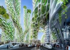 """Image 2 of 19 from gallery of Vincent Callebaut's 2050 Vision of Paris as a """"Smart City"""". Mangrove Towers from street level. Image Courtesy of Vincent Callebaut Architecture Architecture Durable, Futuristic Architecture, Sustainable Architecture, Amazing Architecture, Landscape Architecture, Architecture Design, Biomimicry Architecture, Vincent Callebaut, Architecture Organique"""
