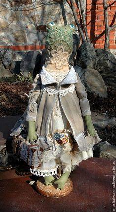Купить Лягушка в тренде:)Модный бохо(продана) - белый, коллекционная кукла, бохо-стиль, бохо, лягушка