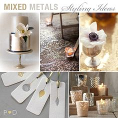 mixed metal styling ideas - love this inspiration for wedding or party - will use for goddess theme party - Grecian or Roman Goddess inspiration perfection! Love the gold foil cake!! mini tealight candles and glittered floor. Use of silver cups for flowers is totally darling also and the bauble gift tags would make great place settings.