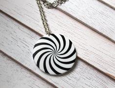 Black and White Swirl Round Pendant Necklace