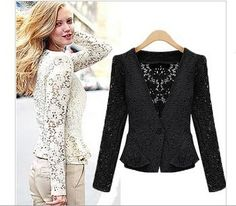 2015 New Fashion Spring Summer Lace Jacket Hollow out Ladies Long Sleeve Floral Lace Peplum Autumn Tops  Jacket LD0609